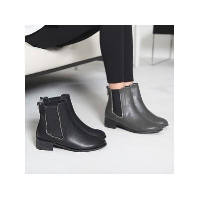 ショートブーツ 裏起毛 ローヒール サイドジップ 太ヒール ブーツ レディース ファッション レディース 靴 婦人靴 30代 40代