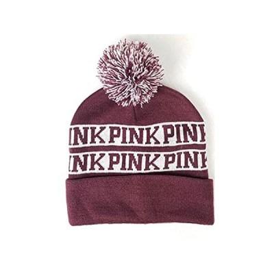 Victoria's Secret Pink Nation Ruby Beanie Hat Pom Pom, Maroon, one size 好評販売中