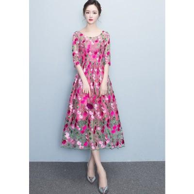 ロングドレス 結婚式 大きいサイズ パーティードレス パーティドレス ワンピース ドレス ウェディングドレス  ドレス[レッド]