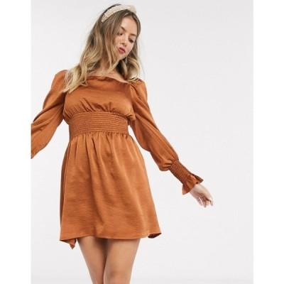 ジョンザック John Zack レディース ワンピース スケータードレス ワンピース・ドレス satin shirred waist mini skater dress in copper コッパー