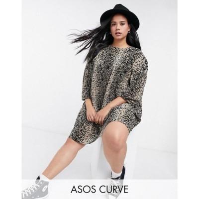 エイソス ASOS Curve レディース ワンピース ミニ丈 ワンピース・ドレス ASOS DESIGN Curve plisse smock mini dress in leopard print レオパードプリント