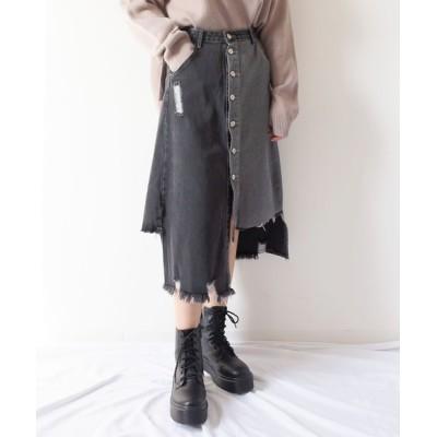 UNE MANSION / バイカラーダメージGジャンデニムスカート WOMEN スカート > デニムスカート