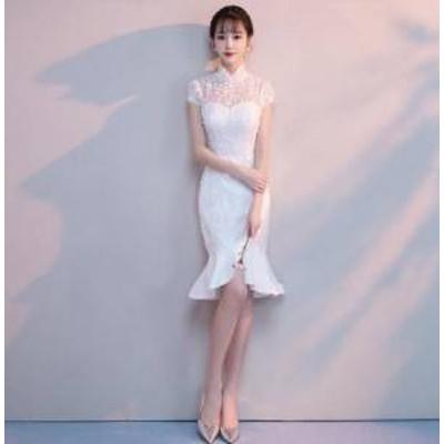 ドレス ワンピース ひざ丈 半袖 ホワイト レース 20代 上品 きれいめ ガーリー 春夏 結婚式 お呼ばれ a615