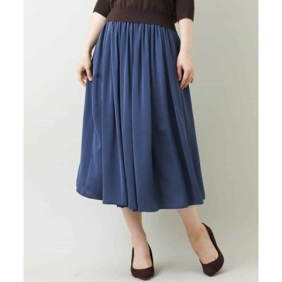 スカート 【洗える】リバーシブルチュールサテンスカート