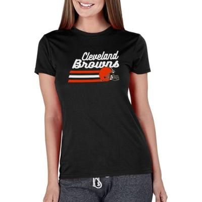 エヌエフエル チーム アパレル NFL Team Apparel レディース Tシャツ トップス Concepts Sport Cleveland Browns Marathon Stripe Black T-Shirt