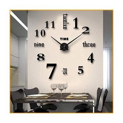 Biramba フレームレス DIY 壁時計 3D表面ミラー壁時計 モダンデザイン 大きなミュート壁時計 ステッカー リ