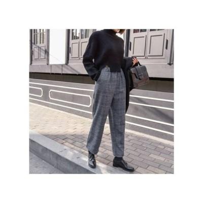 パンツ       ファッション グレーチェック かわいい ウール混 あったか スラックスパンツ