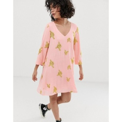 ワイルドハニー レディース ワンピース トップス Wild Honey swing dress with all over embroidery