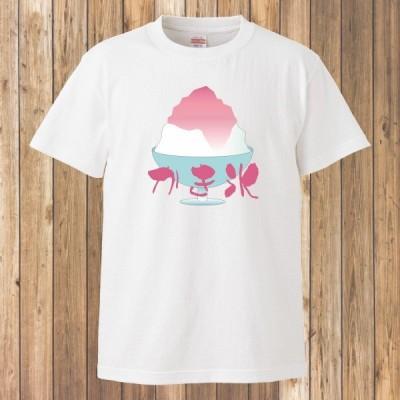 Tシャツ/かき氷/イチゴ味/ホワイト