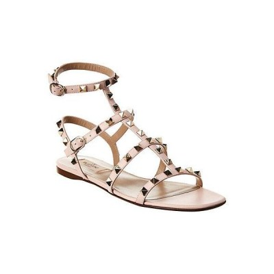 レディース シューズ  Valentino Rockstud Caged Leather Ankle Strap Sandal