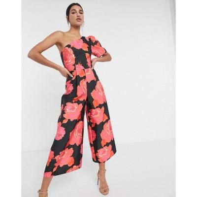 エイソス ASOS DESIGN レディース オールインワン ジャンプスーツ ワンピース・ドレス Structured One Shoulder Jumpsuit In Bold Floral