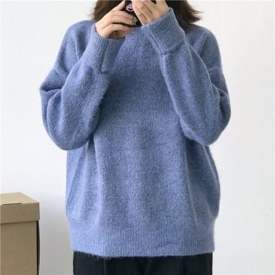 セーター ニット タートルネック モヘアリーニット レディース チクチクしない ほっこり 暖かい 防寒 防寒対策 無地 厚手