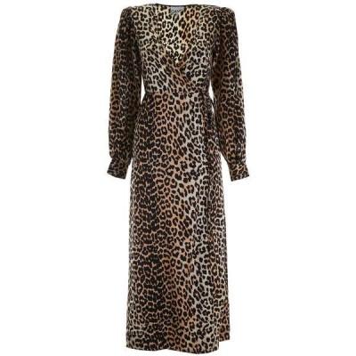 ガニー レディース ワンピース トップス Ganni Leopard Printed Wrap Dress -