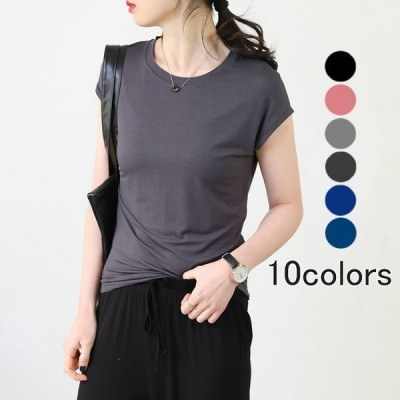 Tシャツ 半袖 無地 レディース 定番 M~2XL大きいサイズ 春夏 ゆったり オリジナル tシャツ クルーネック ストレッチ素材 青 橘 白 黒 カ