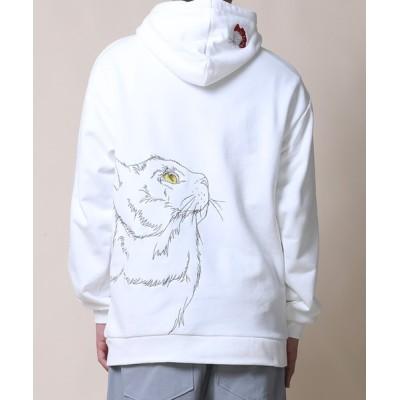aimoha / 【HOOK -original-】【2021SS】数量限定! 激カワオリジナル 猫と蝶々刺繍 パーカー MEN トップス > パーカー