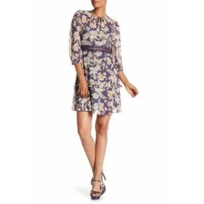 Donna Morgan ドナモーガン ファッション ドレス Donna Morgan NEW Blue Womens Size 12 Chiffon Floral A-Line Dress