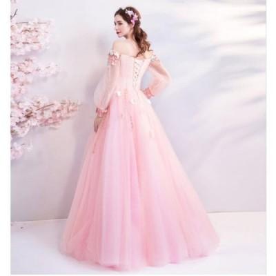 セール♪人気 プリンセスライン 結婚式 花嫁 二次会 パーティードレス ウエディングドレス ブライダル ワンピース 冠婚 ロング丈 綺麗 きれいめ レースアップ