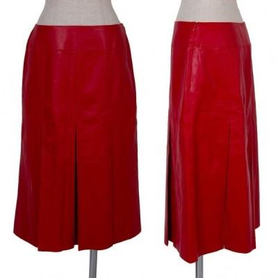 Kオブクリツィア K OF KRIZIA レザープリーツスカート 赤42 【レディース】