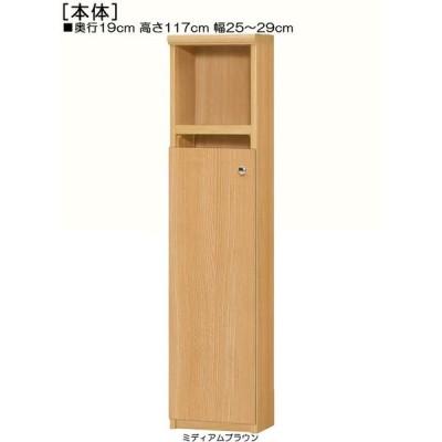 下部扉 隙間本棚 高さ117cm幅25〜29cm奥行19cm厚棚板(棚板厚み2.5cm) 下扉高さ80.8cm 新聞ディスプレイ ロビー