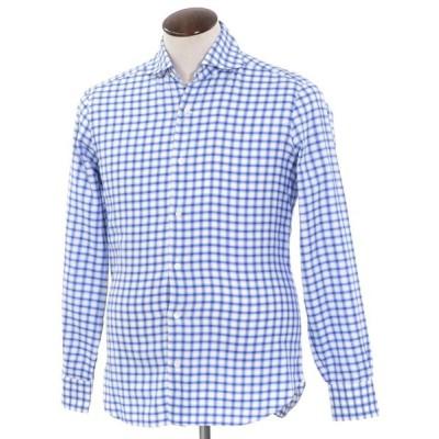 バルバ ダンディライフ BARBA DANDY LIFE チェック ワイドカラー カジュアルシャツ ブルー×ホワイト L