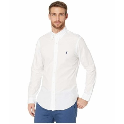 ラルフローレン シャツ トップス メンズ Slim Fit Poplin Stretch Sports Shirt White