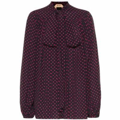 ヌメロ ヴェントゥーノ N21 レディース ブラウス・シャツ トップス Polka-dot crepe blouse Stampa Fondo Nero