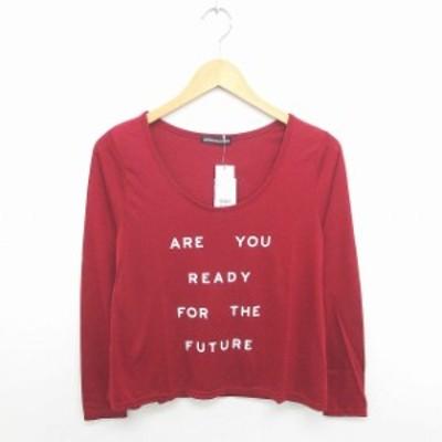 【中古】未使用品 ジュリアーノ ジュリ タグ付き Tシャツ カットソー 丸首 英字 薄手 長袖 F 赤 白 レッド ホワイト