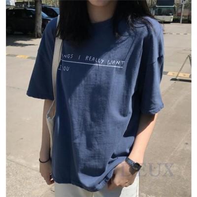 Tシャツ レディース 半袖 夏 トップス ゆったり チュニック カットソー ブラウス オーバーサイズ