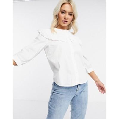 ジェイディーワイ レディース シャツ トップス JDY shirt with oversized prairie collar in white