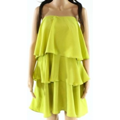endless エンドレス ファッション ドレス Endless Rose NEW Yellow Ruffled Chiffon Layered Tiered Medium M Dress