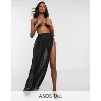 エイソス レディース スカート ボトムス ASOS DESIGN tall recycled tie side maxi chiffon beach sarong in black Black