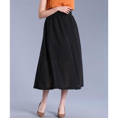 ef-de L / エフデ(エルサイズ) 《大きいサイズ》サイドボタンデザインロングスカート《Maglie par ef-de》