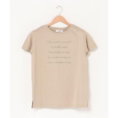 tシャツ Tシャツ 【洗濯機で洗える】レタードプリントカットソー