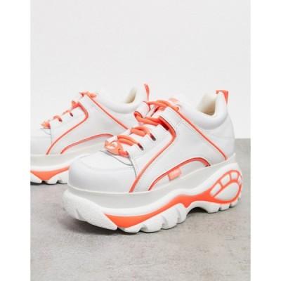 バッファロー Buffalo レディース スニーカー チャンキーヒール シューズ・靴 chunky flatform traineres in white leather ホワイト