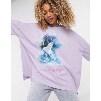 レイジーオーフ レディース シャツ トップス Lazy Oaf oversized t-shirt with vintage horse graphic