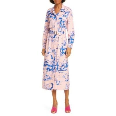 シエス・マルジャン ワンピース トップス レディース Floral Print Crepe Long Sleeve Midi Shirtdress Sapphire