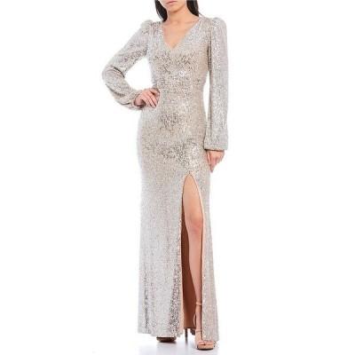 エスケープ レディース ワンピース トップス Allover Sequin V-Neck Front Slit Long Sleeve Gown Nude/Silver