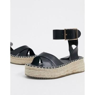 グラマラス レディース サンダル シューズ Glamorous espadrille platform sandal in black