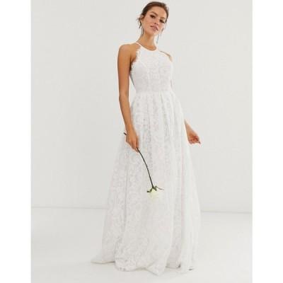 エイソス ASOS EDITION レディース パーティードレス マキシ丈 ワンピース・ドレス lace halter neck maxi wedding dress アイボリー