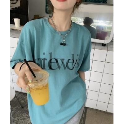 tシャツ Tシャツ シャドーロゴプリントドロップショルダーTシャツ