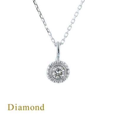 K10 WG ダイヤモンド ネックレス 一粒 ダイヤ レディース