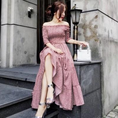 ワンピース オフショルダー フェミニン ドレープ ロング丈 お呼ばれ 可愛い 清楚 ドレス