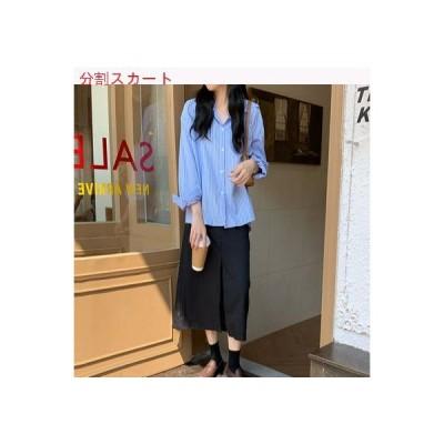 【送料無料】秋 縦ボーダー ラペル シャツ スプリット スカートと長いセク   346770_A63441-3670239