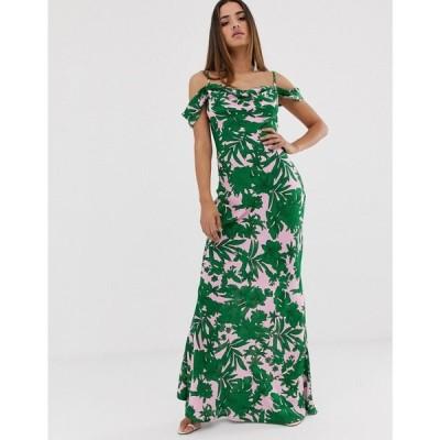 クラブエル ロンドン Club L London レディース ワンピース ワンピース・ドレス Club L tropical print bardot cowl neck maxi dress Pink & green tro