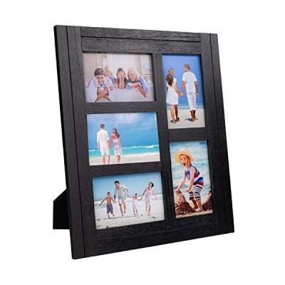 Excello Global Products コラージュフォトフレーム 素朴なアンティーク調の木製4x6インチの写真5枚を収納  EGPHD0337