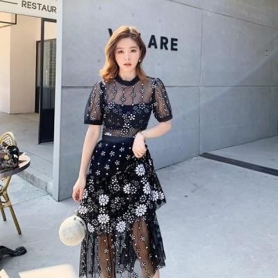 パーティードレス  ロングドレス 花柄 シースルー ワンピース 黒 ブラック【XS-Lサイズ】