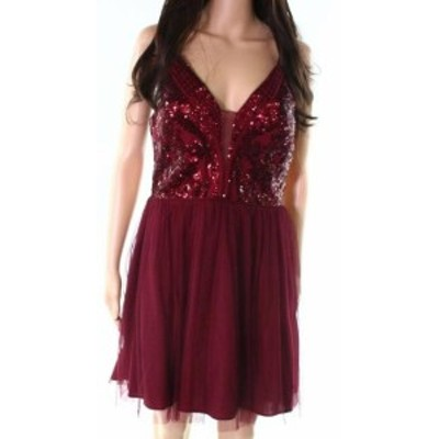 Red  ファッション ドレス Blondie Nites NEW Wine Red Size 1 Junior Mesh Sequin A-Line Dress