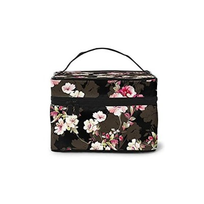 Beautiful Flowers Cosmetic Travel Bag For Women(9x6.5x6.2 In)square Makeup