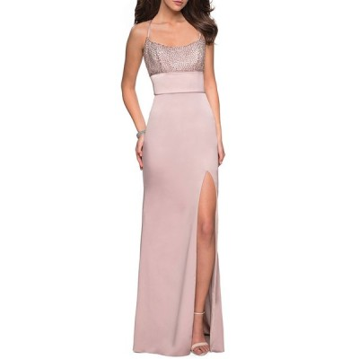 ラフェム レディース ワンピース トップス Sleeveless Column Gown with Beaded Top & Thigh-Slit