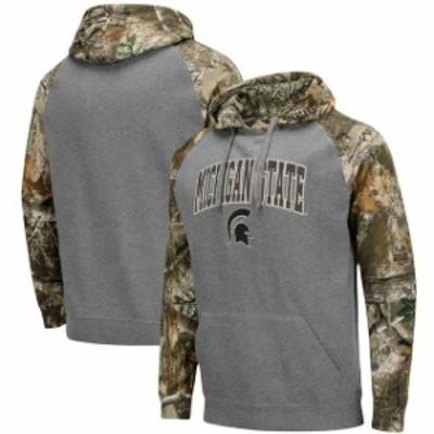 Colosseum コロセウム スポーツ用品  Colosseum Michigan State Spartans Charcoal/Realtree Camo Arch & Logo Pullover Hood